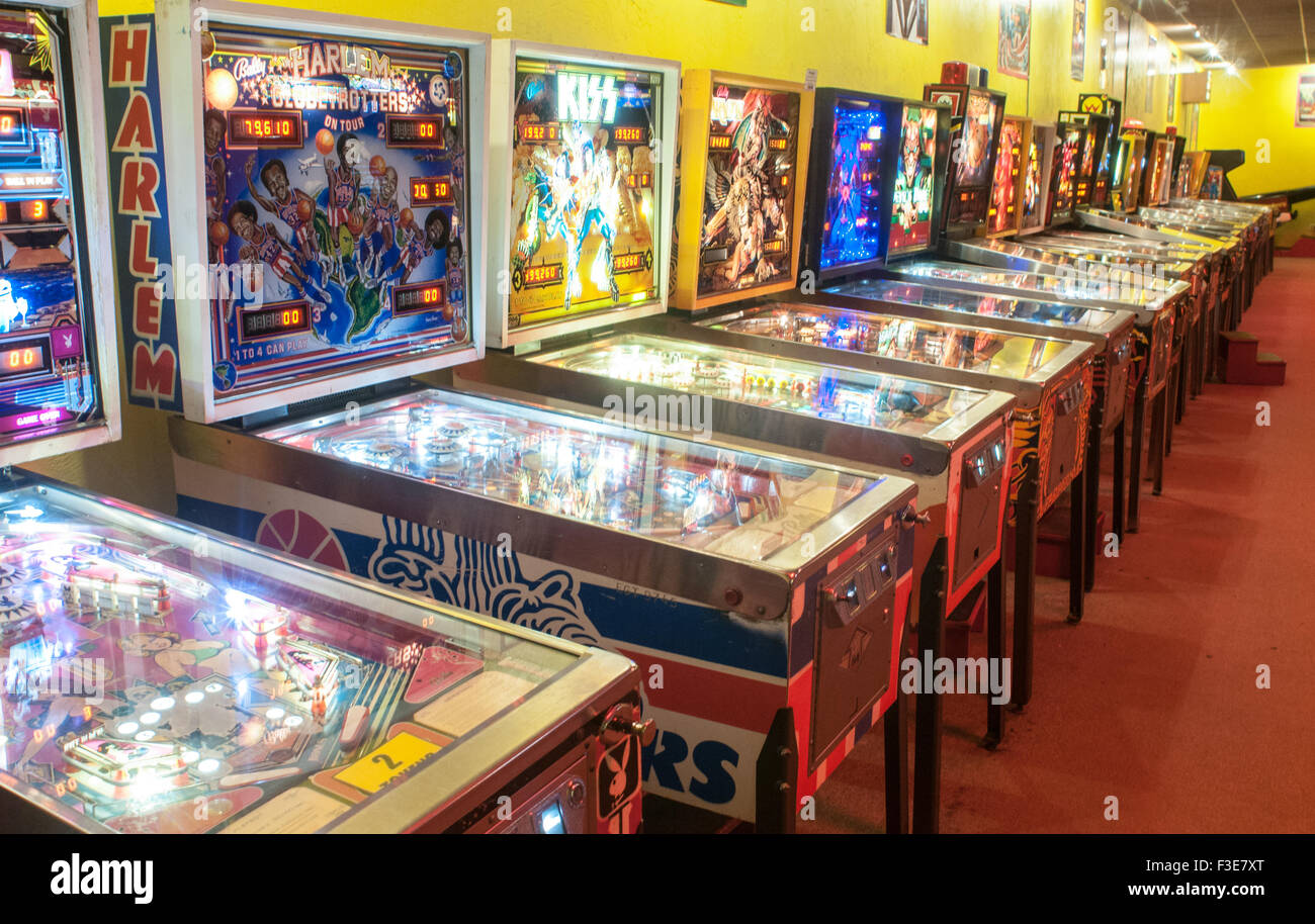 Pinball machines in the American Classic Arcade Museum in Laconia, New Hampshire. - Stock Image