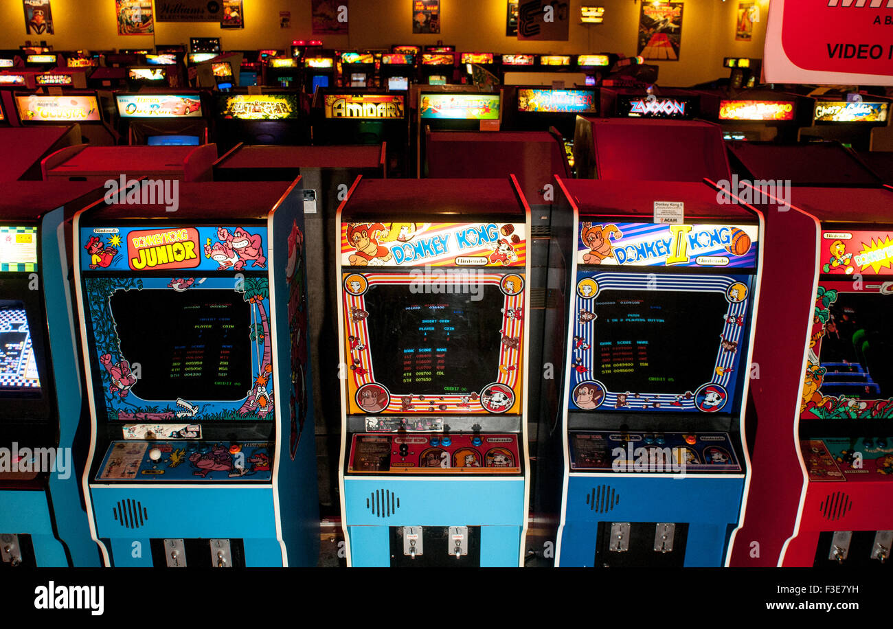 Donkey Kong video games inside the American Classic Arcade Museum in Laconia, New Hampshire, USA - Stock Image