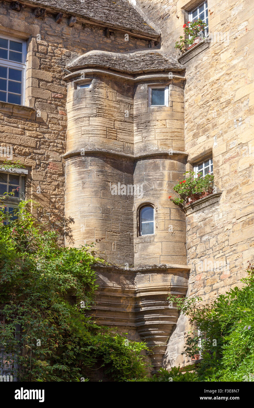 The twin corbelled turrets of the 'de Vassal' town house, at Sarlat la Caneda (France). Double tourelle - Stock Image