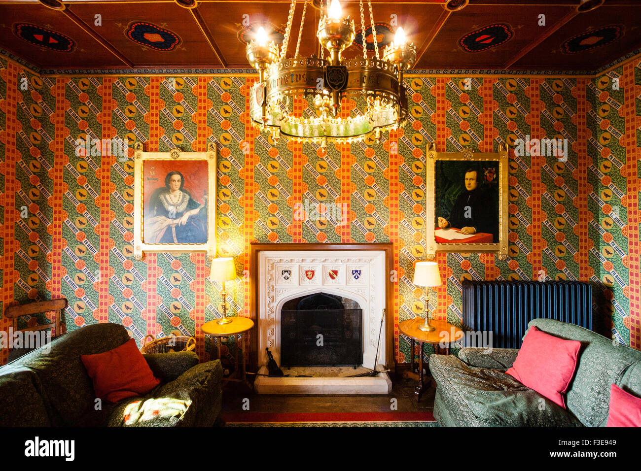 England, Ramsgate. The Grange, house designed by Augustus Pugin in the Gothic medieval style. Sitting room with - Stock Image