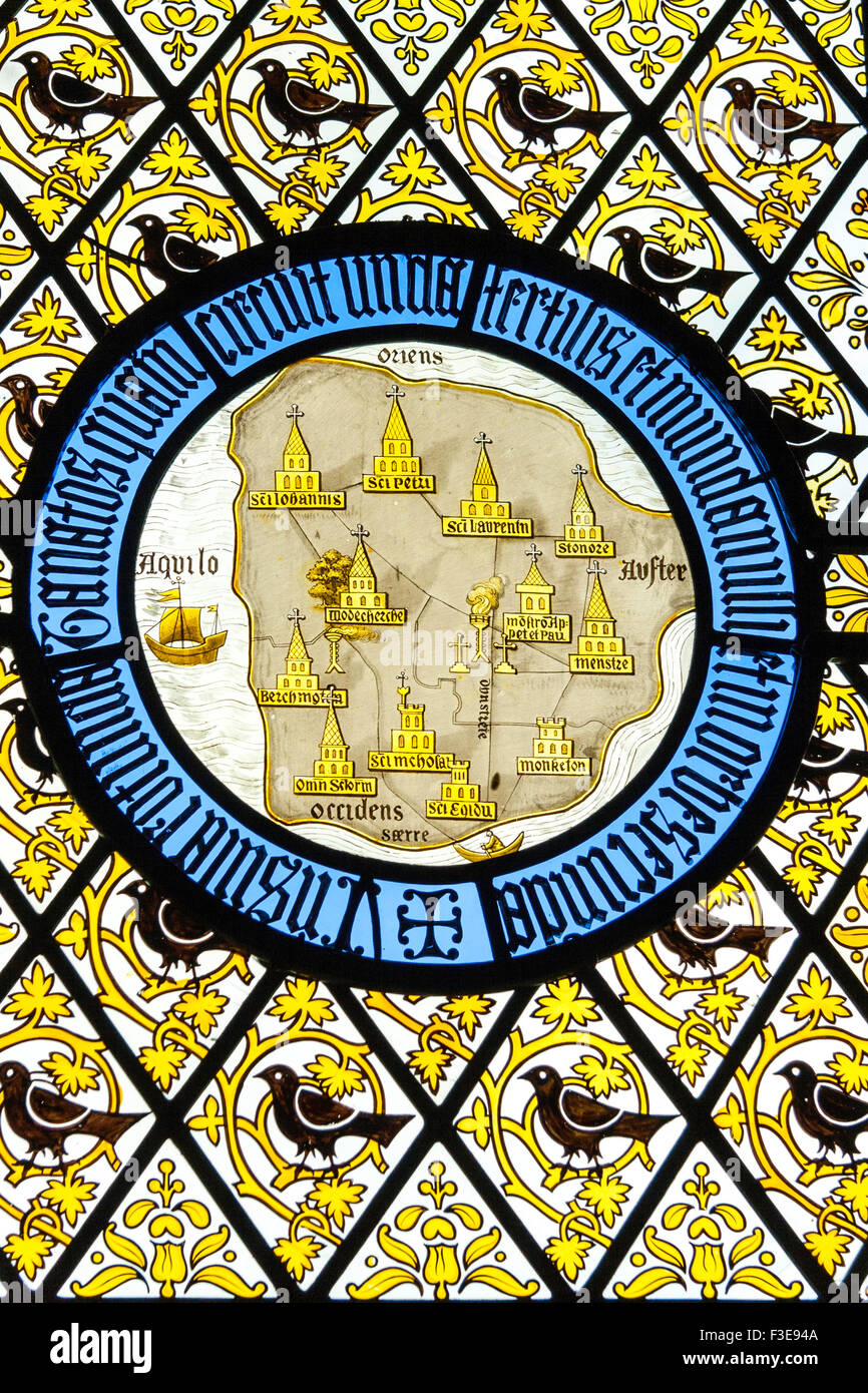 England, Ramsgate. The Grange, house designed by Augustus Pugin. Stained glass window with old map of Thanet insert - Stock Image