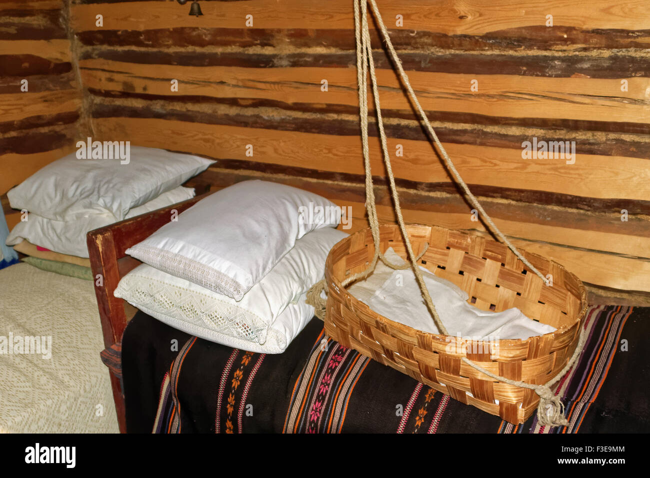 Interior of a rustical bedroom in Setomaa. - Stock Image
