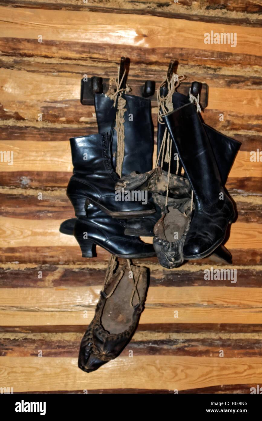 Footwear, interior of a rustical bedroom in Setomaa. - Stock Image