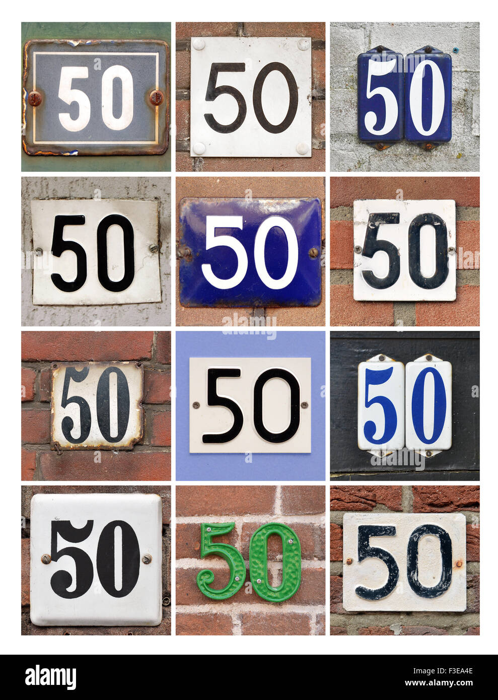 Number 50 - Collage of House Numbers Fifty - Stock Image