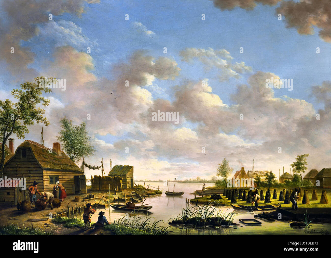 Landscape with fishermen and farmers signed peat bog 1783 Hendrik Willem Schweickhardt (1746-1797) German Germany - Stock Image