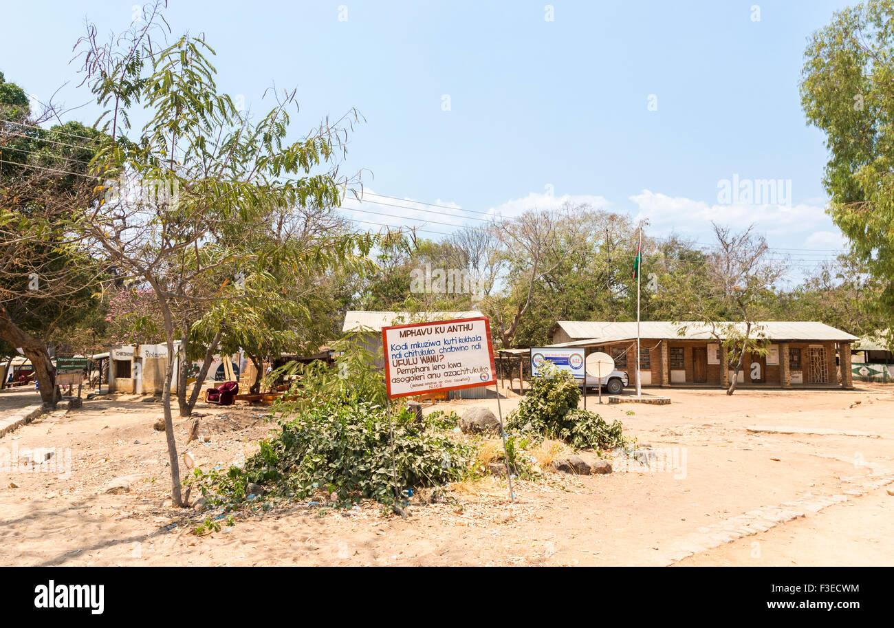 African educational establishment: sign for the National Initiative for Civic Education (NICE), Likoma Island, Lake - Stock Image