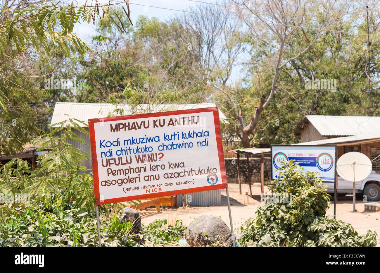 Sign for the National Initiative for Civic Education (NICE), Likoma Island, Lake Malawi, Malawi, south-east Africa - Stock Image