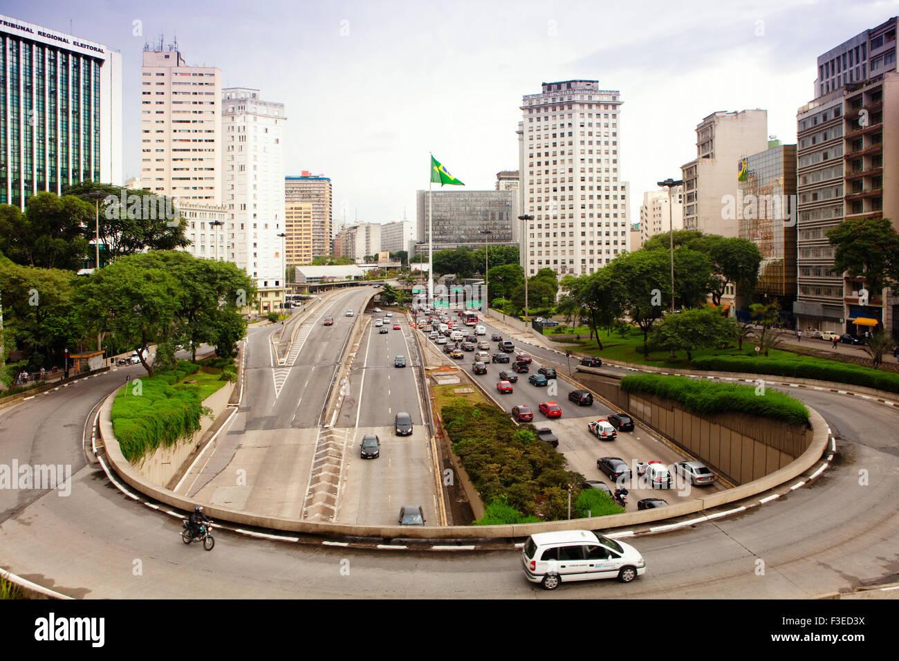 Avenida 23 de Maio and 9 de Julho from the Viaduto de Cha in central Sao Paulo Stock Photo
