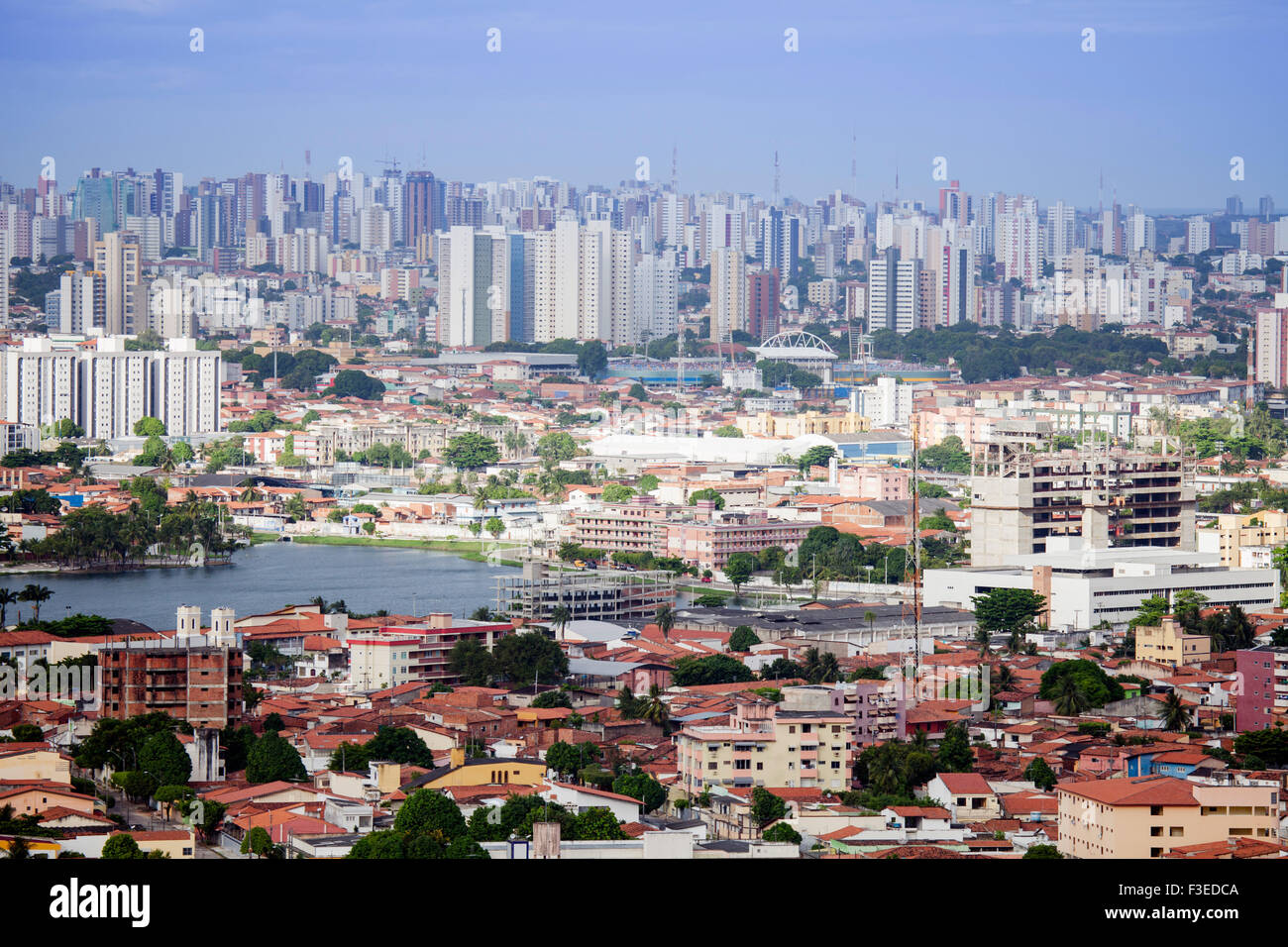 Skyline of Fortaleza city, Ceara state, Brazil. Fortaleza has one of the highest crime rates in Brazil - Stock Image