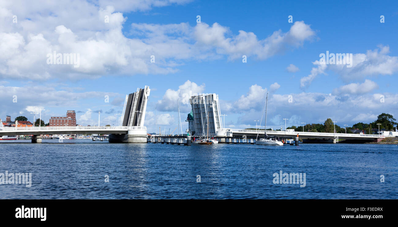 Draw bridge at Kappeln, opened for passing sail boats - Stock Image