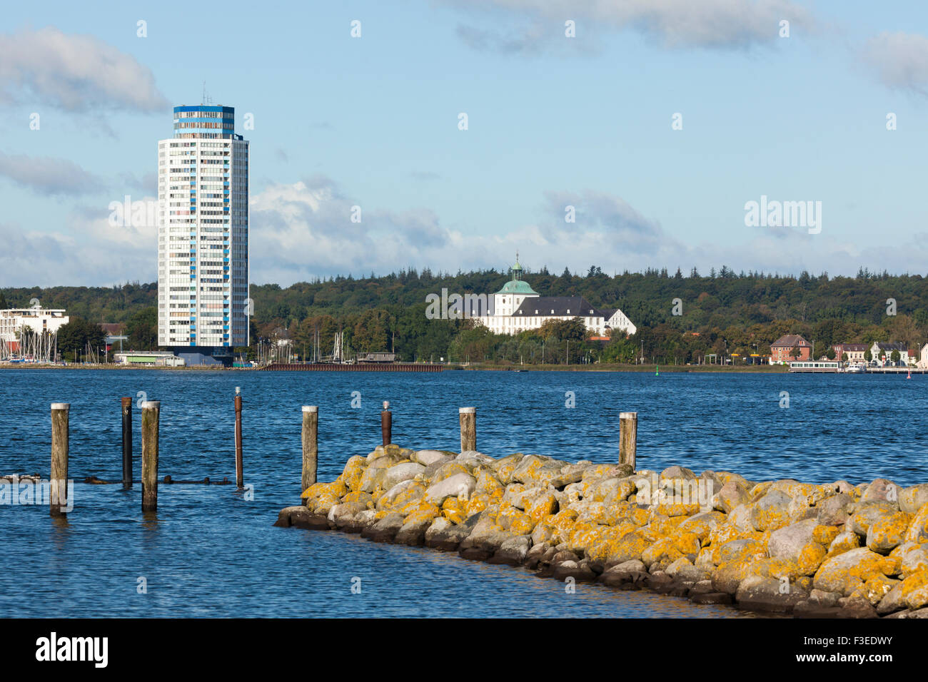 Wikingturm building and Gottorf Castle at Schleswig on the Schlei inlet - Stock Image