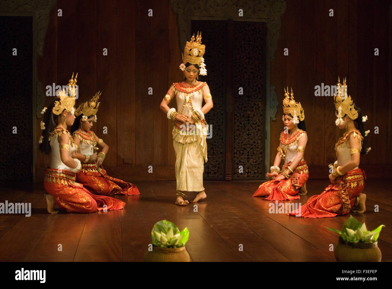 Representation of apsara dance. Apsara Theatre. Siemp Reap. t has been a tradition since the earliest days of tourism - Stock Image