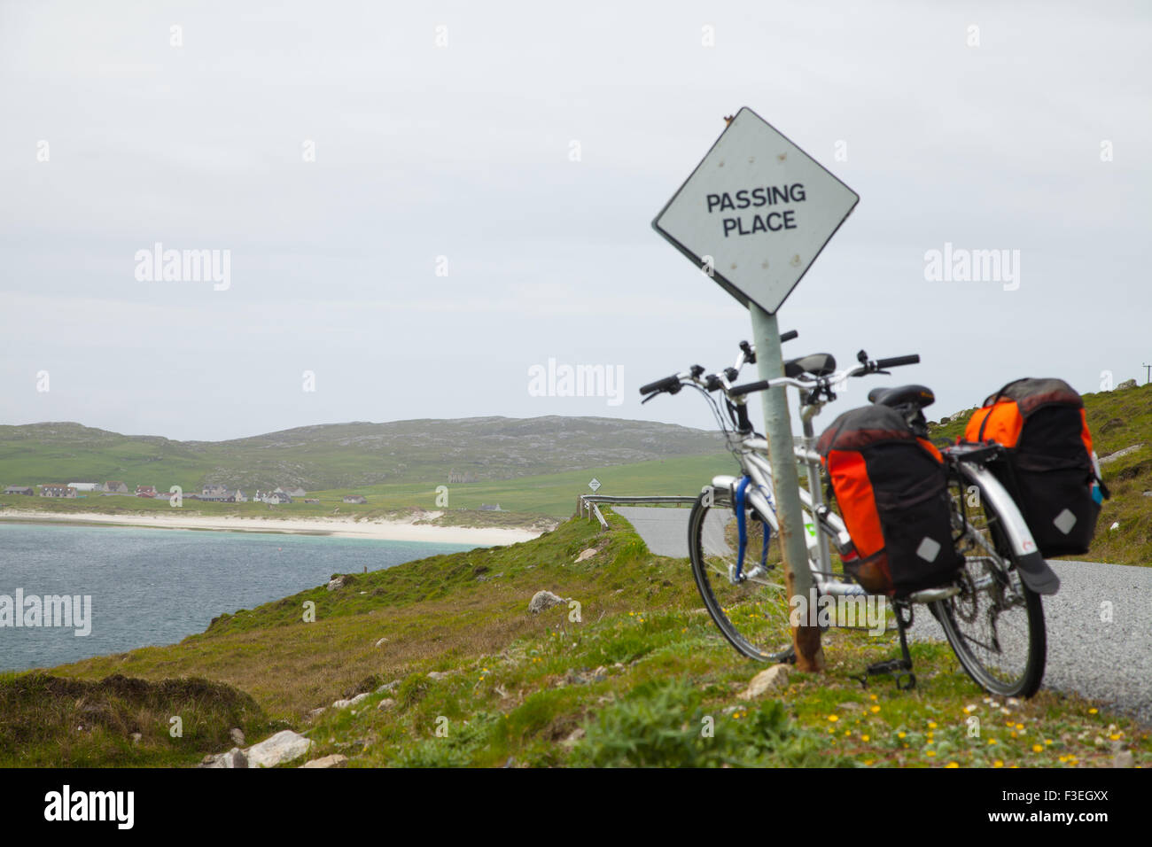 Approaching Vatersay's East beach, Outer Hebrides, Scotland, UK - Stock Image