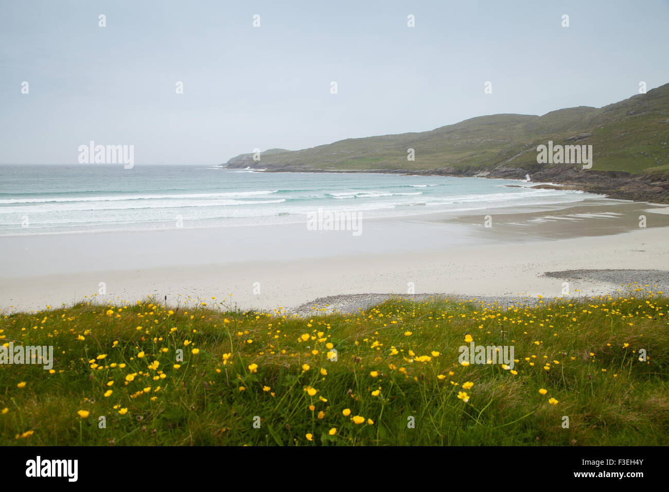 Looking out over the Western facing beach on Vatersay , Vatersay Outer Hebrides, Scotland. - Stock Image