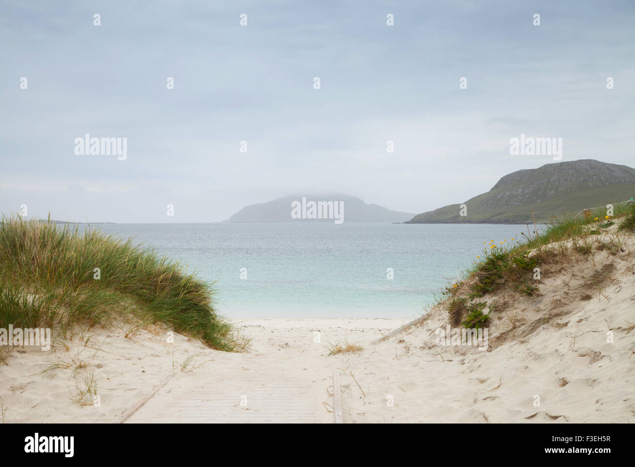 Looking out over Vatersay Bay, Vatersay Outer Hebrides, Scotland. Stock Photo