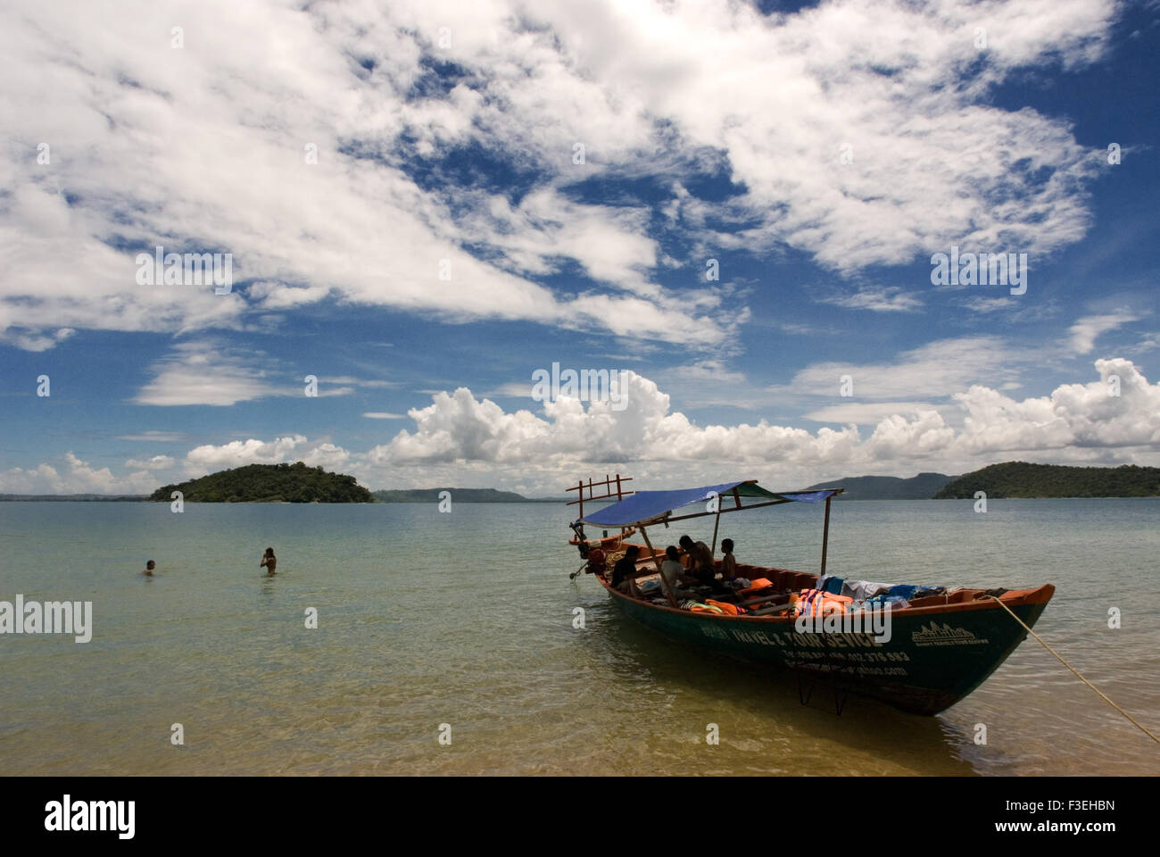 Boat for snorkeling on the island of Koh Russei. Koh Russei or Bamboo Island is one of a group of small islands - Stock Image