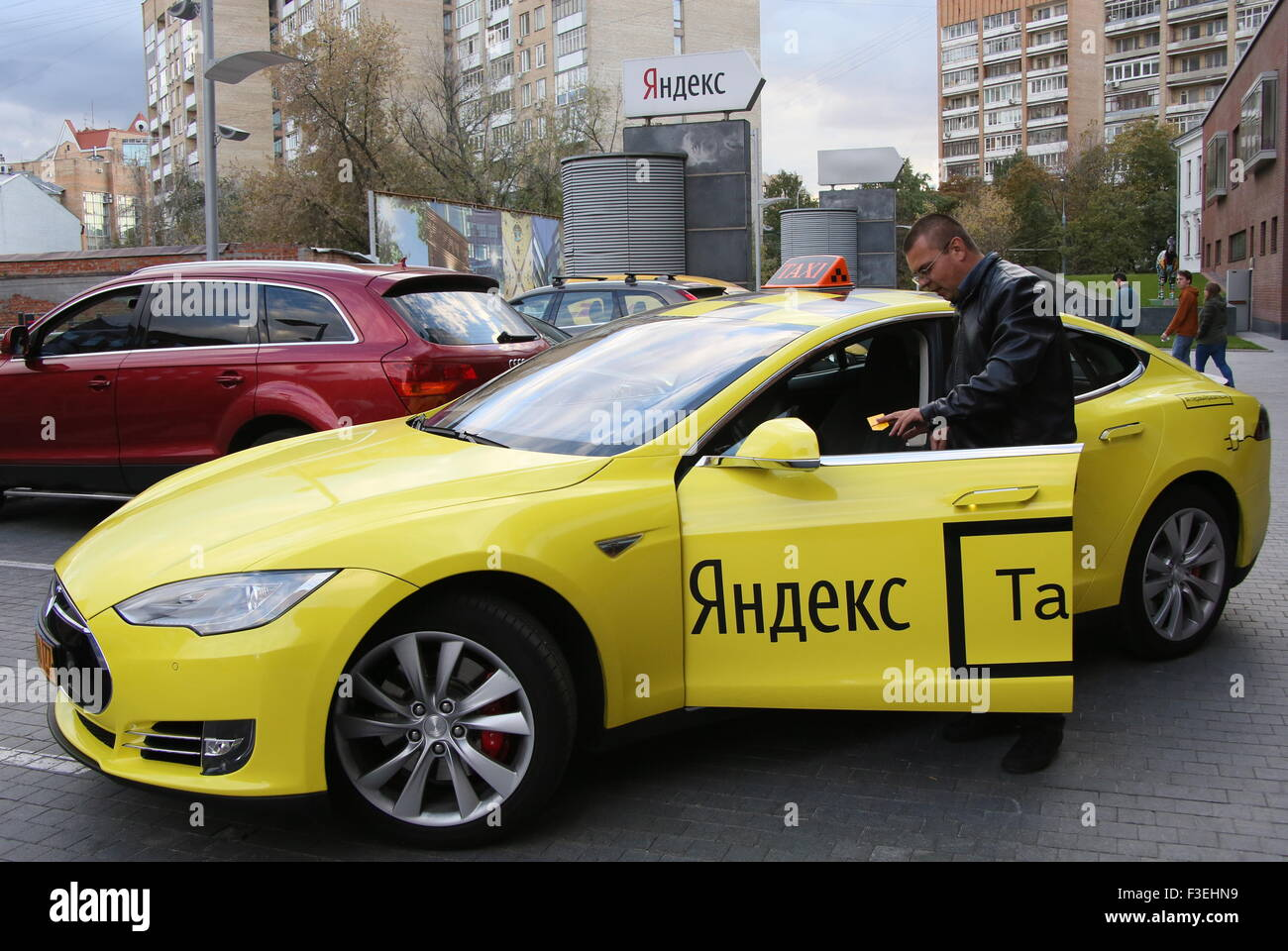 Moscow, Russia. 6th Oct, 2015. A Tesla electric car of the ...