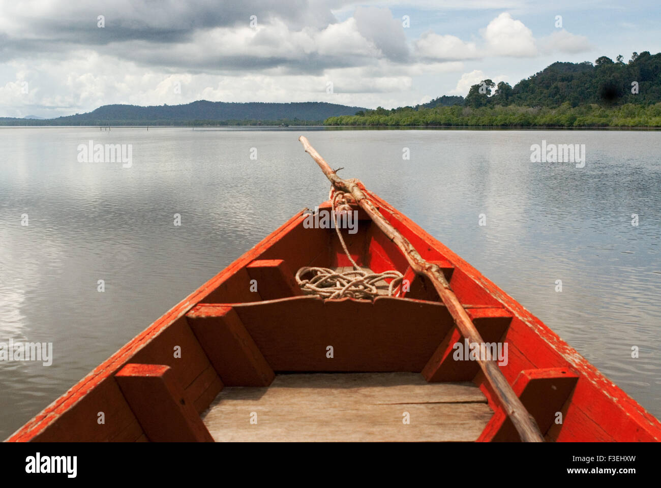 Boat in the Ream National Park. Ream National Park, 18 kilometres outside the beach resorts of Sihanoukville, is - Stock Image