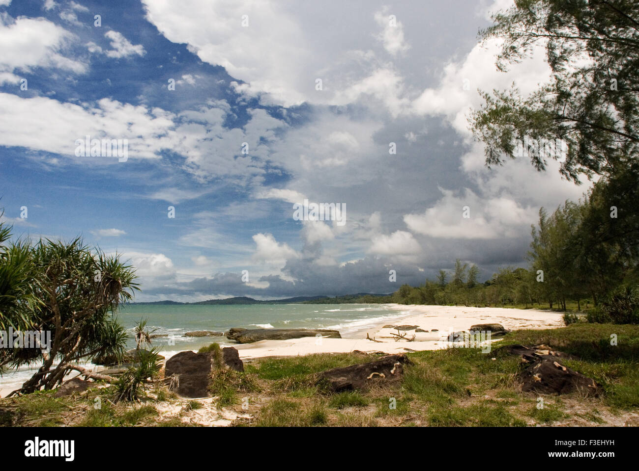 Virgin beach on the waterfront of Ream National Park. Ream National Park is located about 12 miles from Sihanoukville, - Stock Image