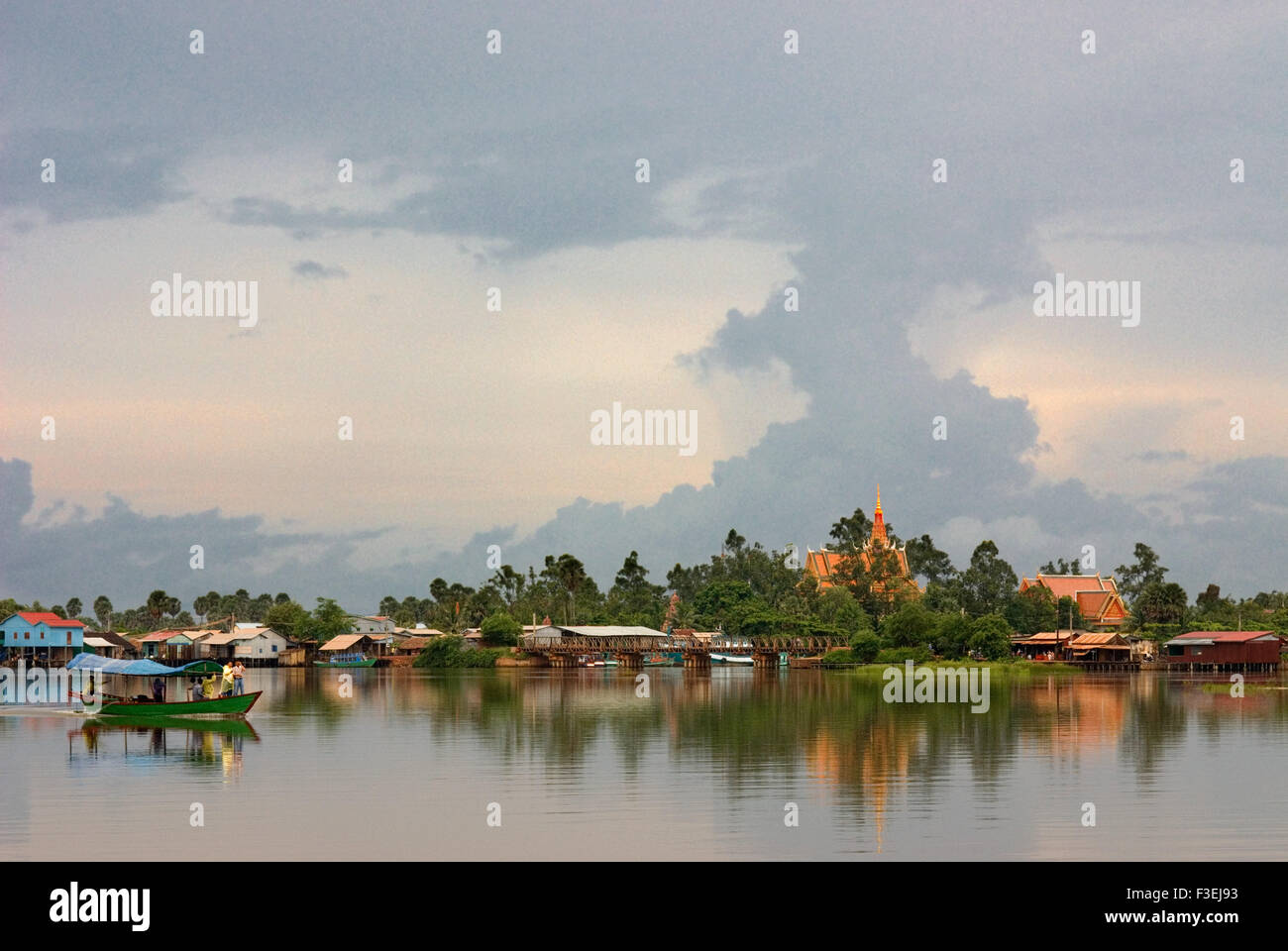Kampot. Prek Kampong Bay River. Kampot River Kampot's river, which is actually an estuary, in combination with - Stock Image