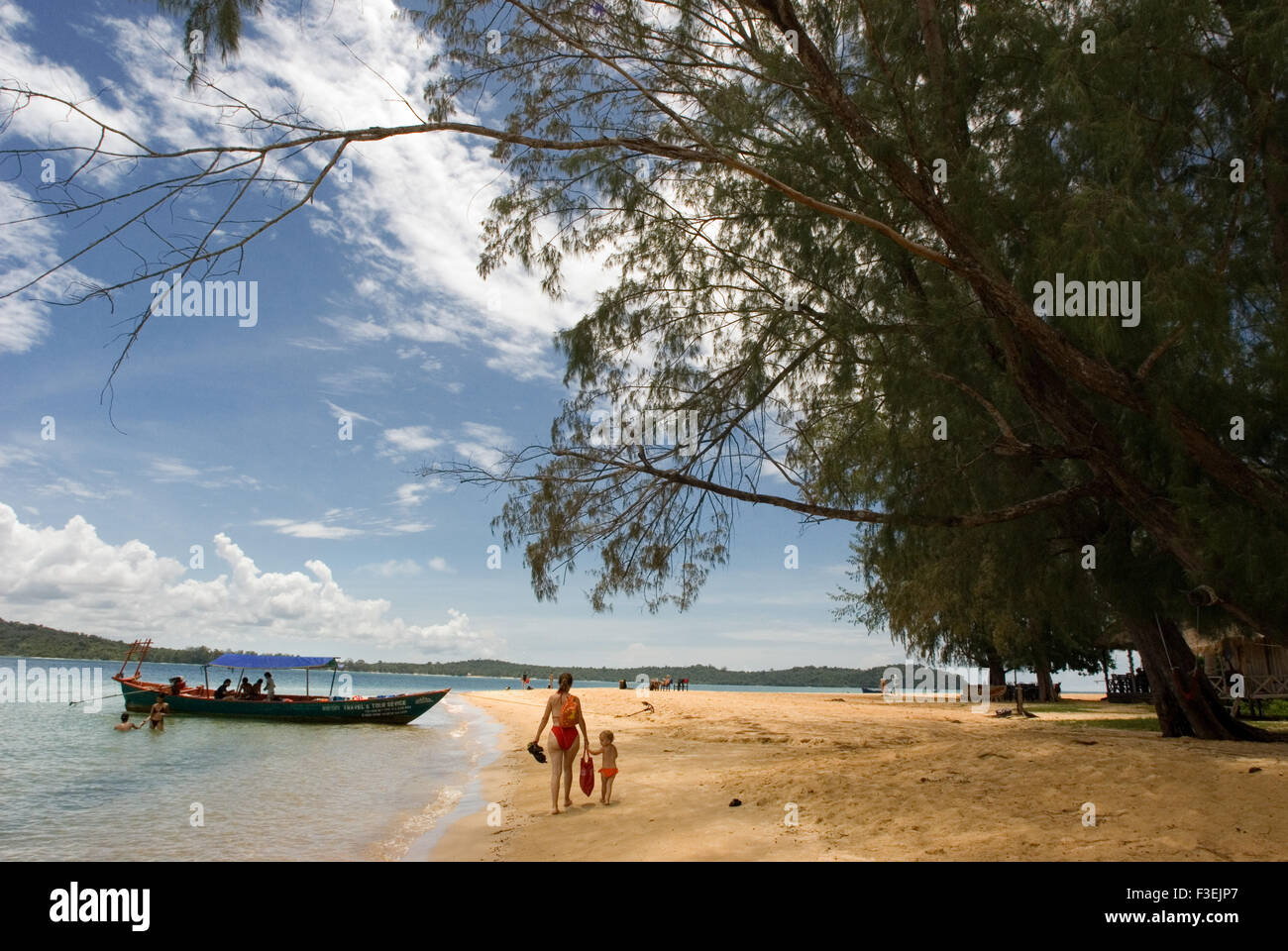 Beach on the island of Koh Russei. Koh Russei, also named Koh Russey or Bamboo Island is a green, gilt-edged crescent, - Stock Image