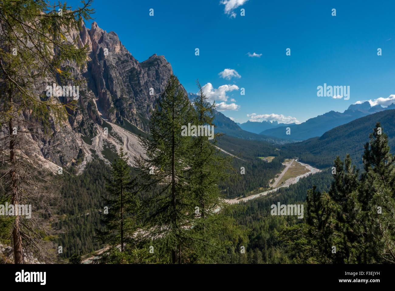 Looking towards Cortina in the valley from the descent path from the Ettore Bovero via ferrata on Col Rosa,  (Dolomites, - Stock Image