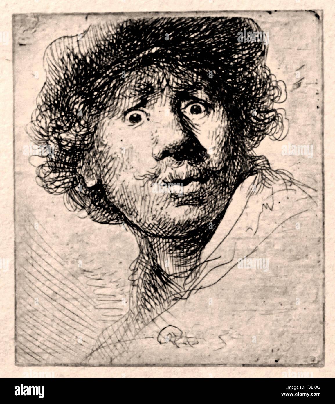 Self portrait open mouthed 1630 etch etching Rembrandt Harmenszoon van Rijn Dutch 1606–1669 Netherlands - Stock Image