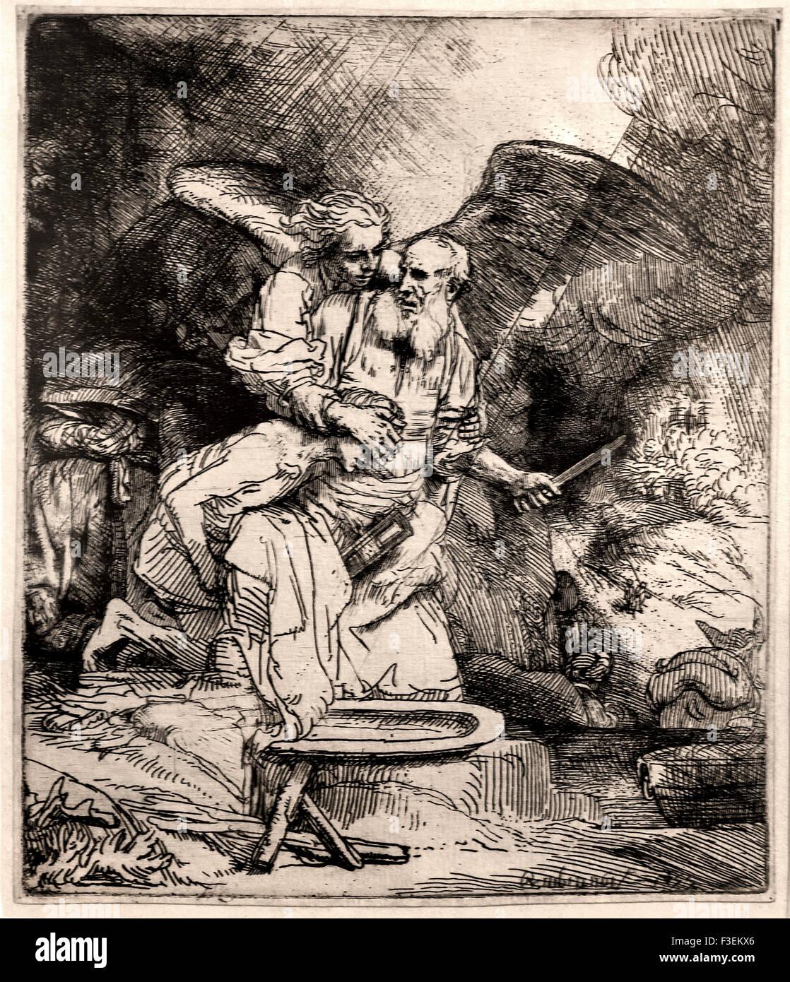 Abraham`s sacrifice 1655 Rembrandt Harmenszoon van Rijn1606–1669  Dutch Netherlands Etching Etch - Stock Image