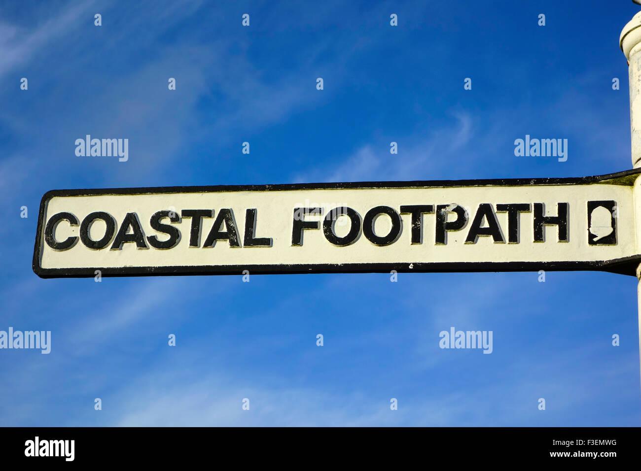 Coastal Footpath Sign for the South West Coast Path, Cornwall, England, UK - Stock Image