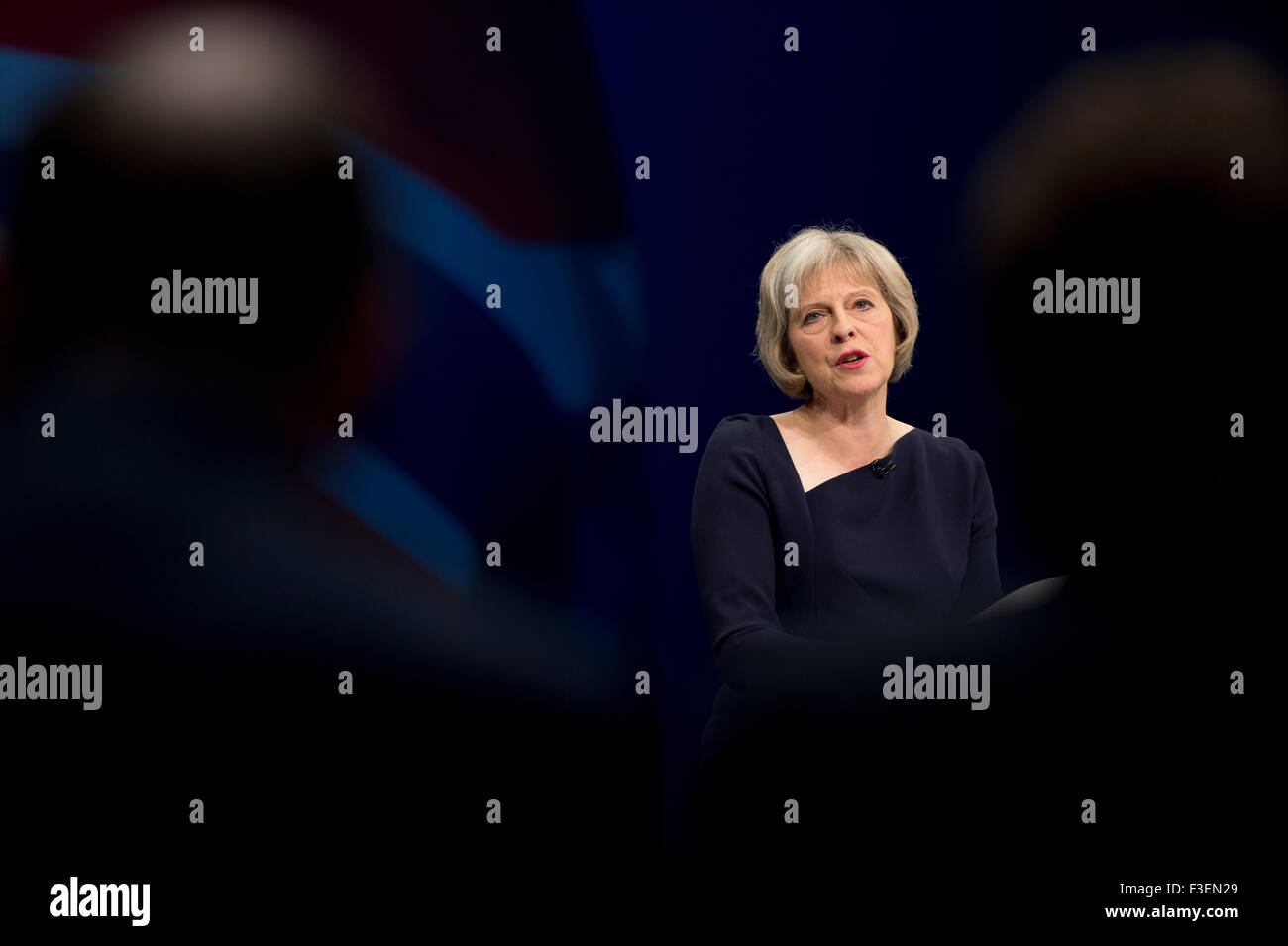 Manchester, UK. 6th October 2015. The Rt Hon Theresa May MP, Secretary of State for the Home Department speaks at - Stock Image