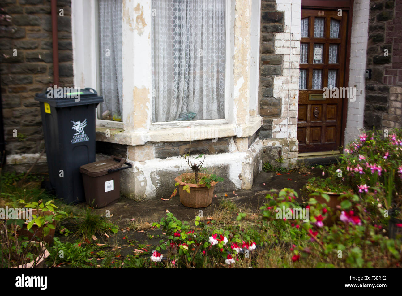 Old house with a messy garden in Cardiff - Stock Image