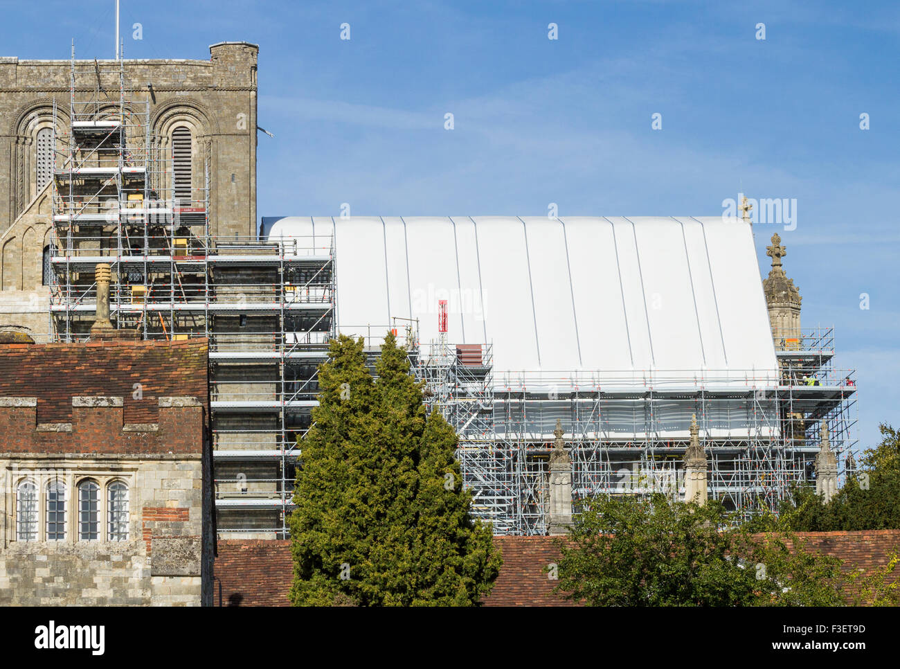 Scaffolding on Winchester cathedral as much needed conservation work is carried out. Winchester, England, UK - Stock Image