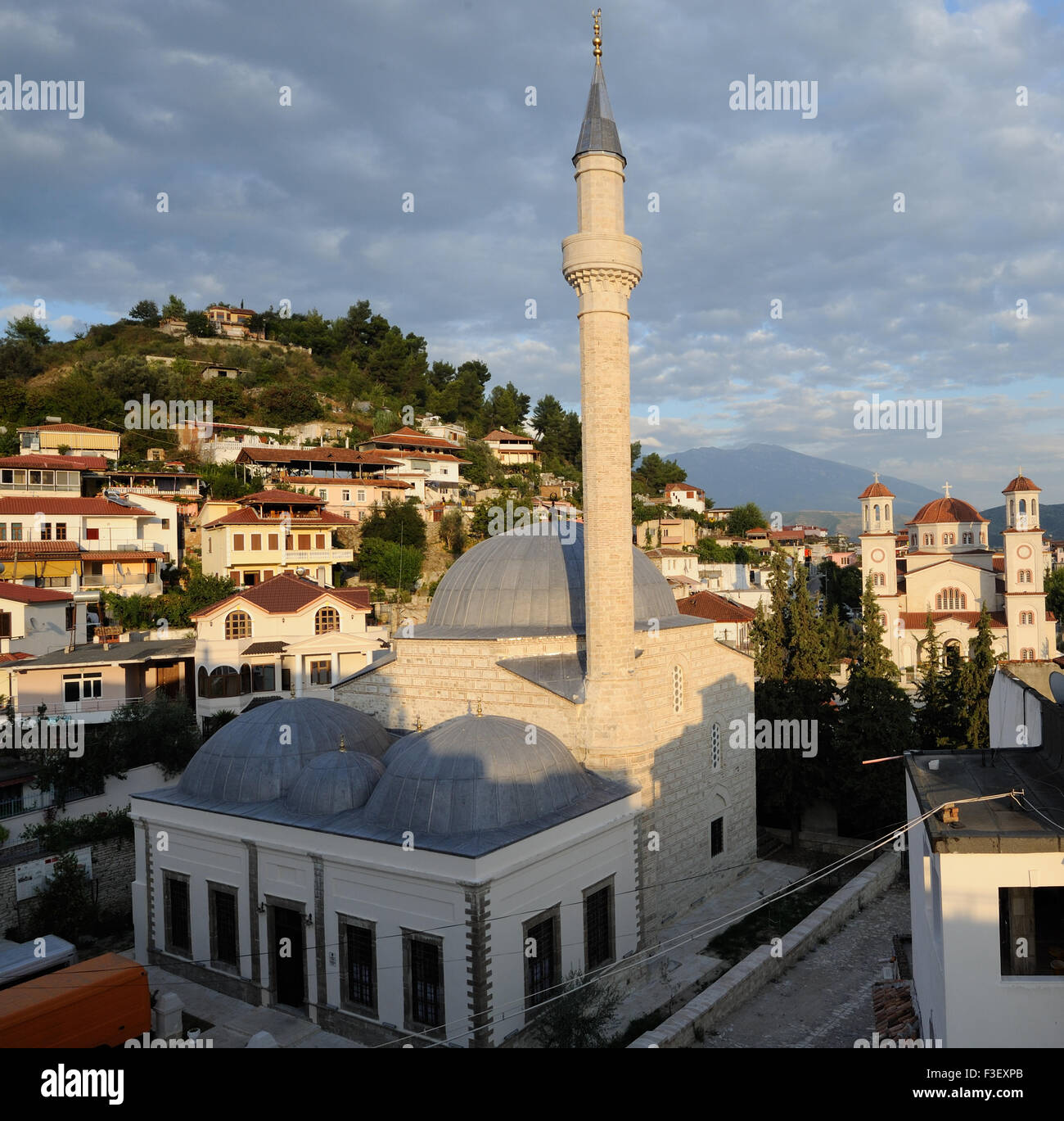 The Lead Mosque,  Xhamia e Plumbit,  a 16th-century mosque named for the lead covering of its domes - Stock Image