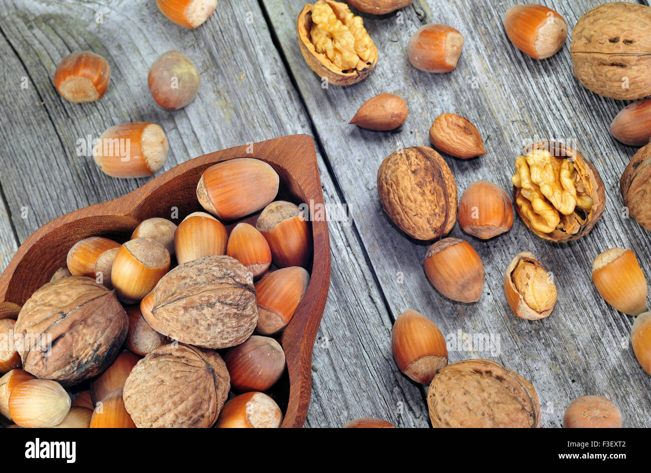 Hazelnuts and walnuts on a wooden table - Stock Image