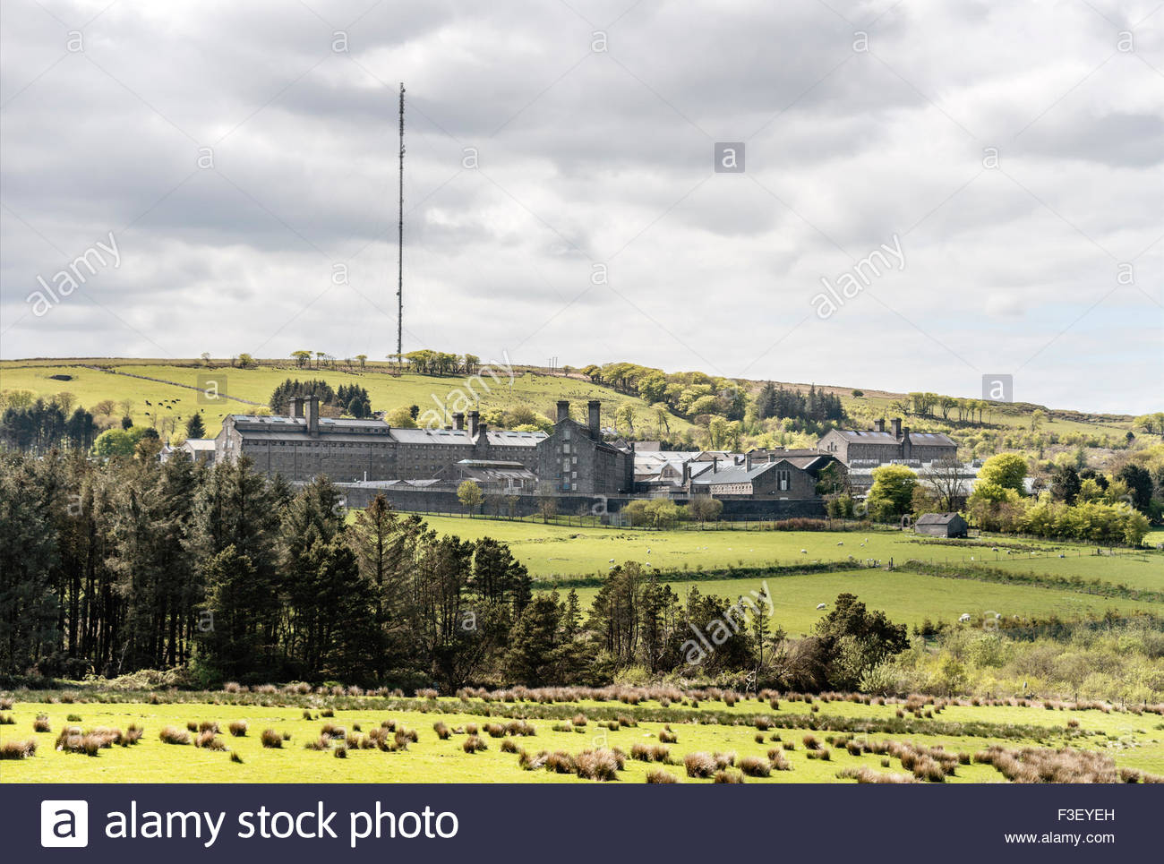 Distant view at Dartmoor Prison in Princetown, Devon, England, UK | Aussicht auf das Dartmoor Prison Gefaengnis - Stock Image