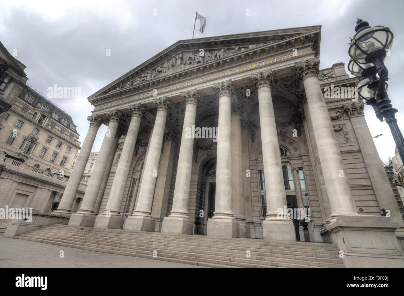 The royal exchange building in London city of London - Stock Image