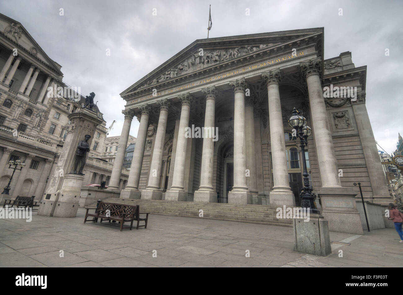 The royal exchange building in London - Stock Image