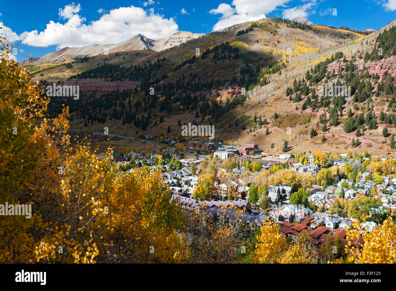 Autumn leaf dispays in Telluride, CO as seen from a gondola - Stock Image