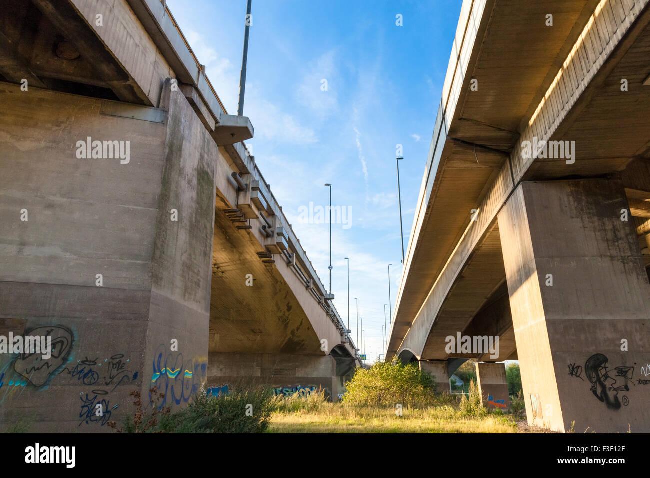 Road bridge from underneath. Clifton Bridge, Nottingham, England, UK - Stock Image