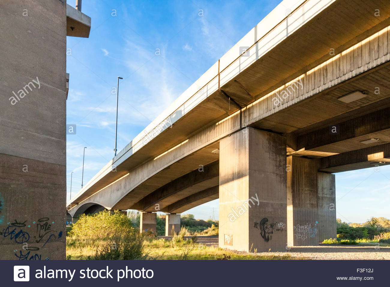 Road bridge from underneath, Nottingham, England, UK - Stock Image