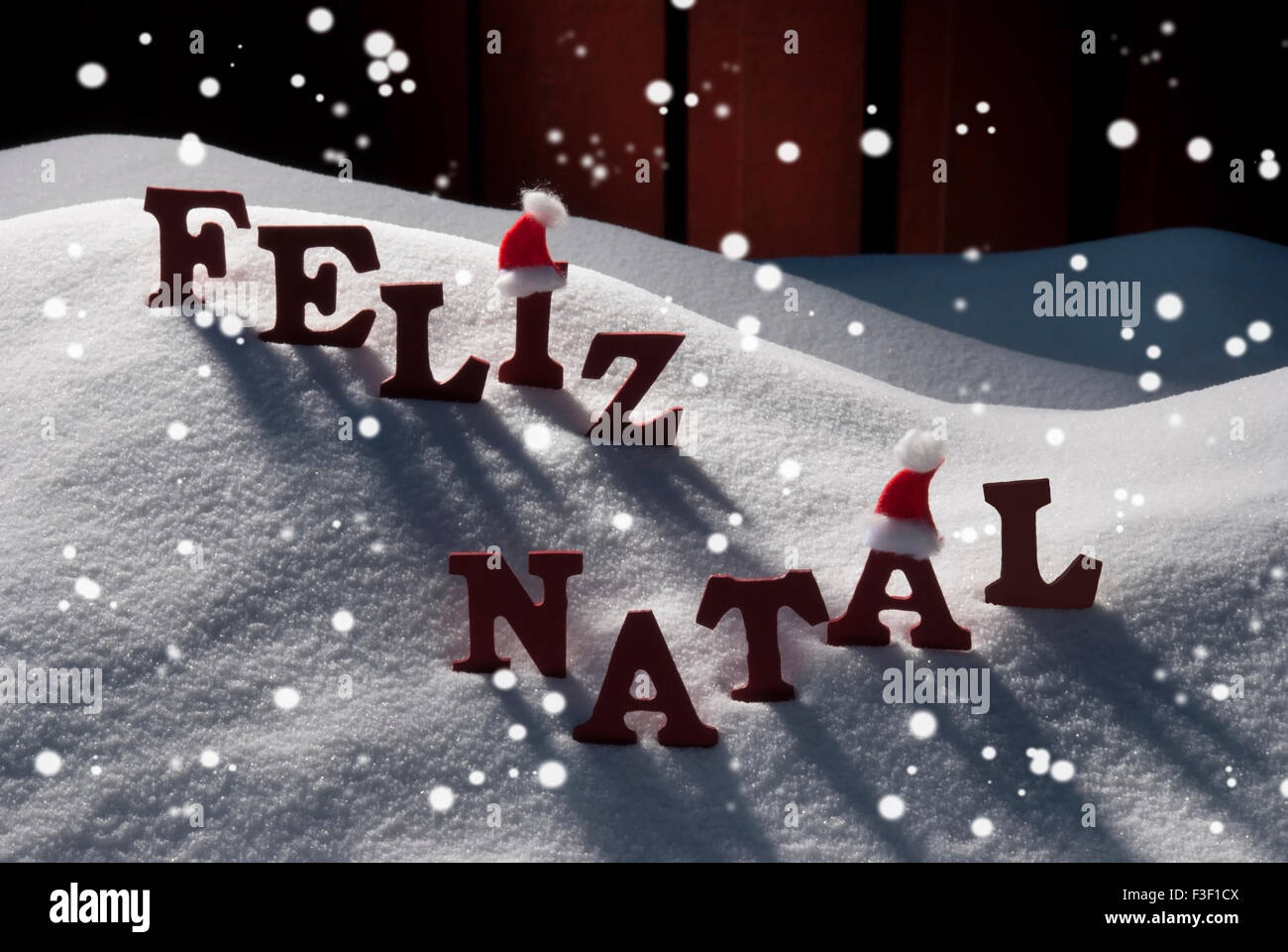 card with santa hatsnowflake feliz natale mean merry christmas stock image - What Does The Word Christmas Mean