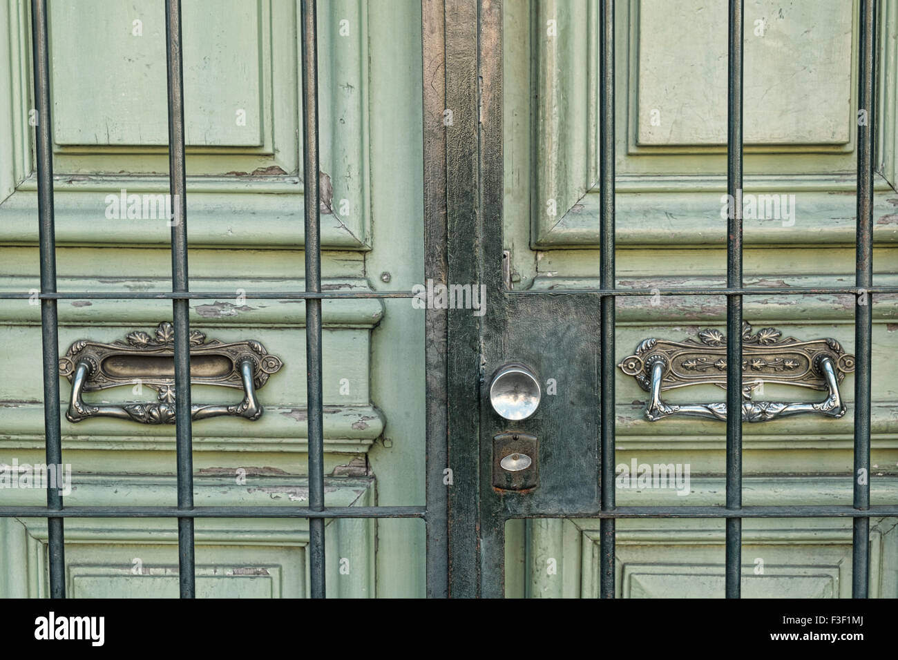 Detail take of an old wooden door with beautiful brass handles - Stock Image