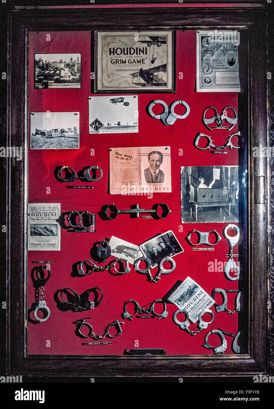 Handcuffs from which famed illusionist Harry Houdini escaped during his worldwide performances are displayed in Stock Photo