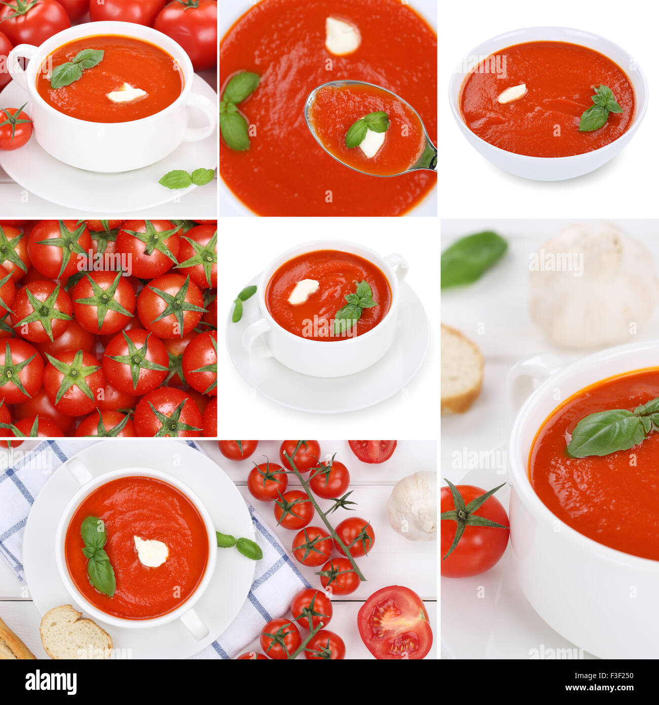 Collection of tomato soup soups with tomatoes meal collage - Stock Image