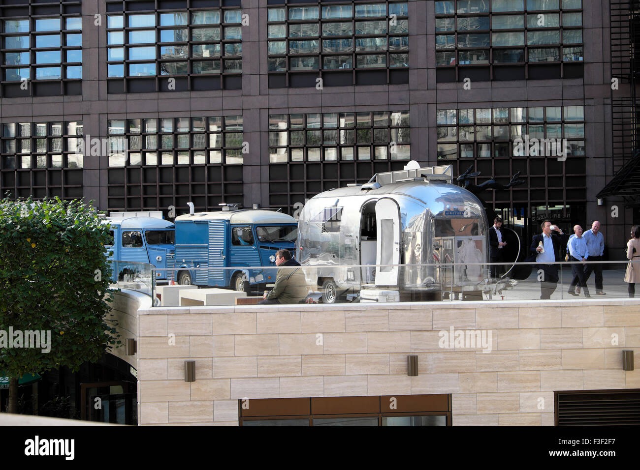 Airstream food van at lunchtime in Broadgate City of London UK  KATHY DEWITT - Stock Image