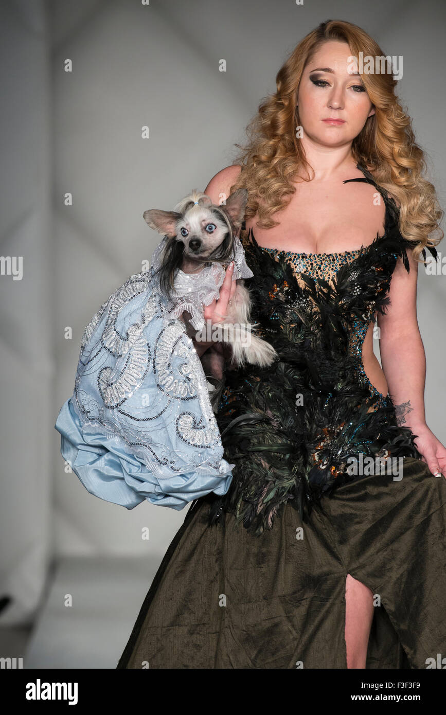 Canine couture by Anthony Rubio - Doggy Couture (USA) at Fashion Week Brooklyn, New York City Stock Photo