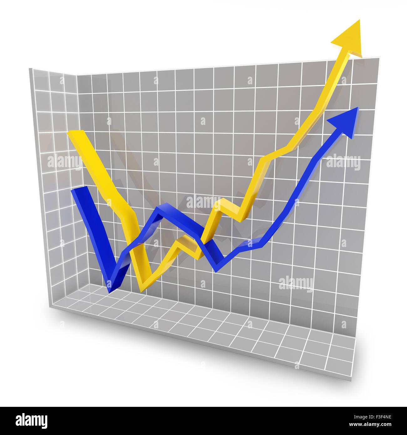 Rebound line graph - Stock Image