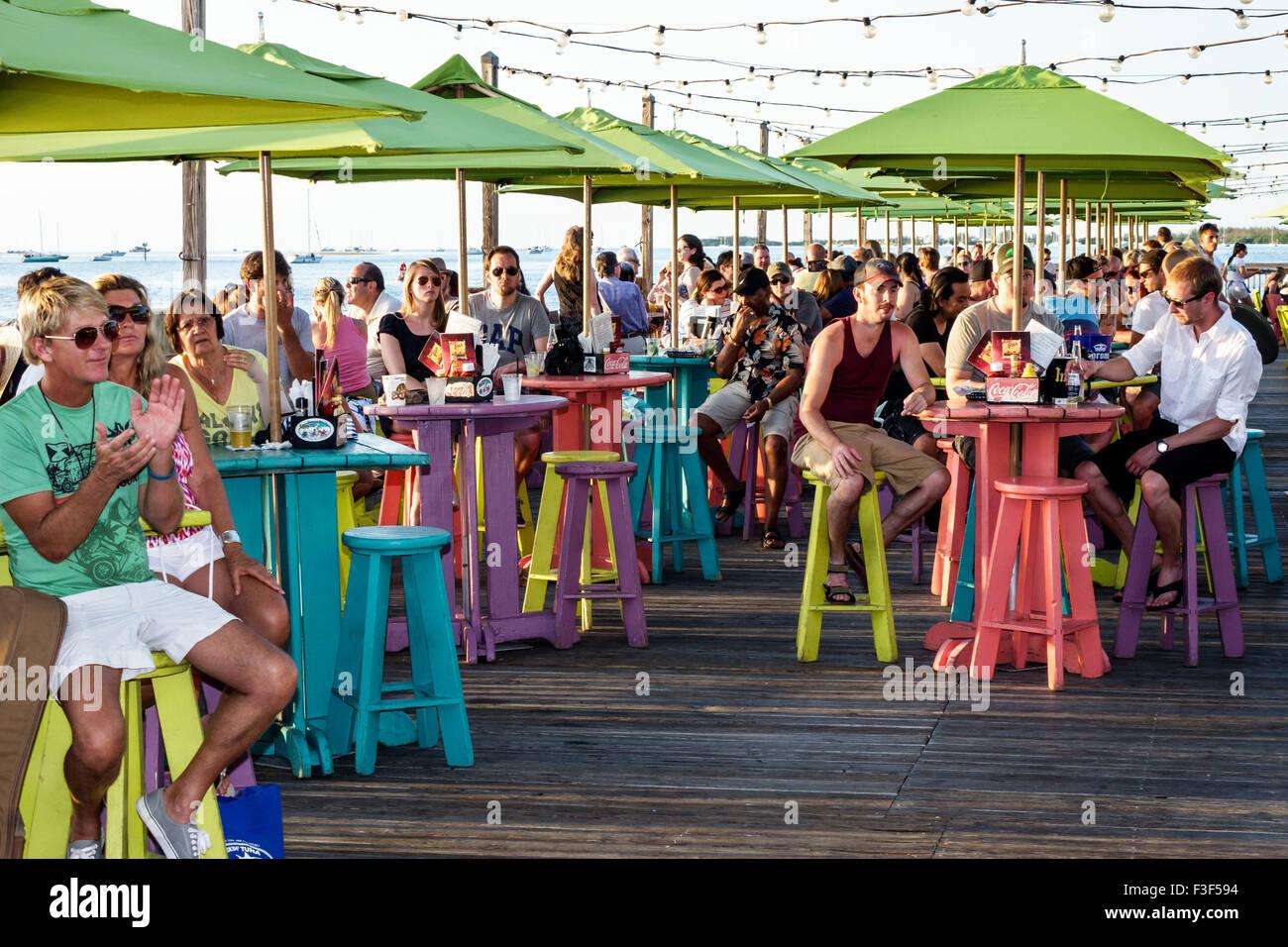 Key West Florida Keys Sunset Pier Bar Restaurant Tables Umbrellas