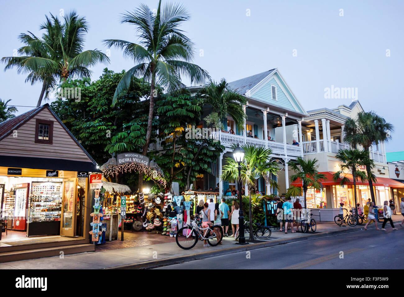 Key West Florida Keys Old Town Duval Street Village night nightlife shopping - Stock Image