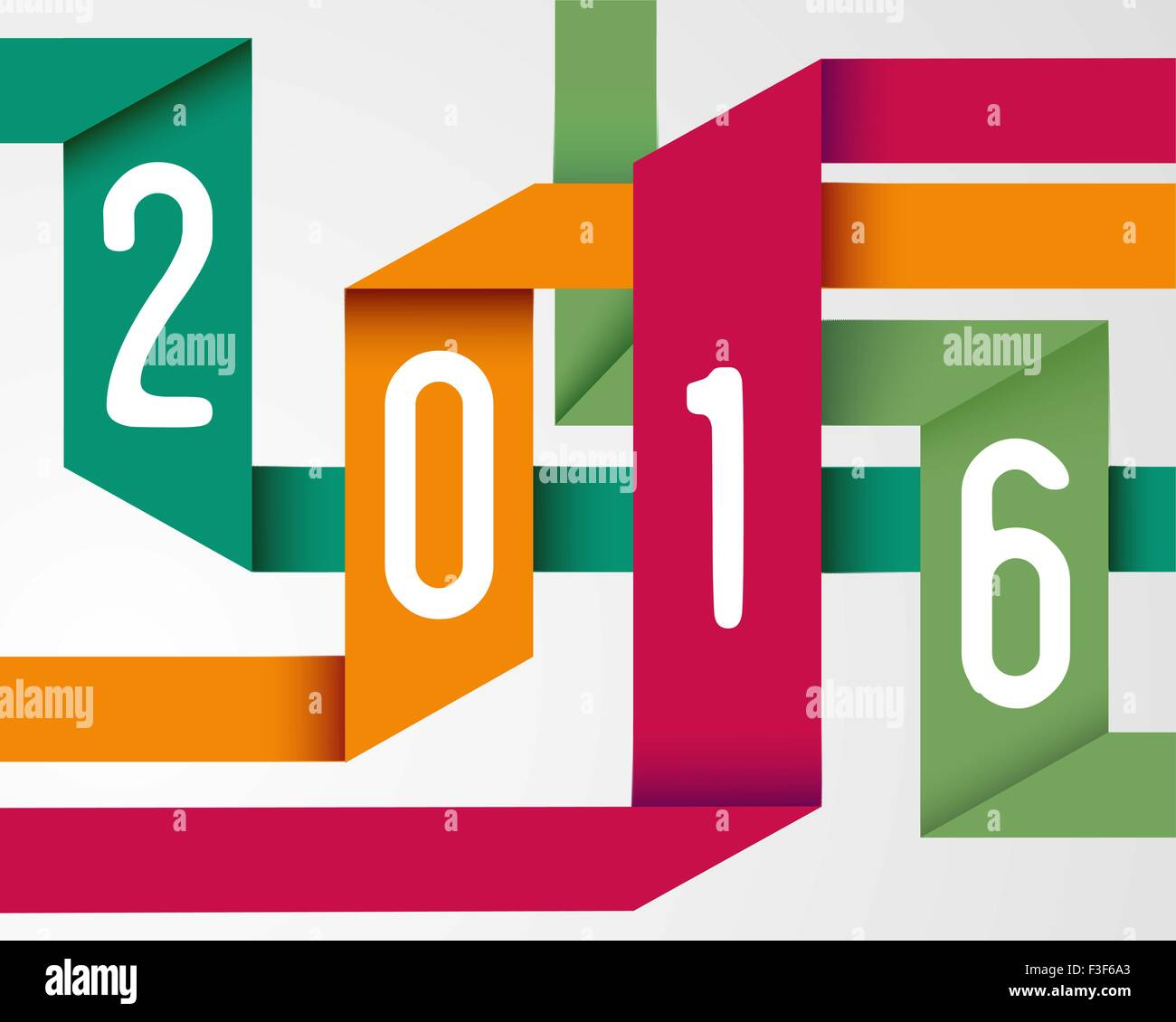 Happy New Year 2016 Holiday Color Origami Simple Greeting Card Stock